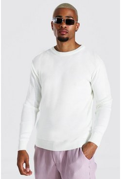Ecru white Crew Neck Sweater