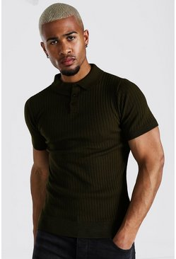 Khaki Short Sleeve Muscle Fit Ribbed Knit Polo