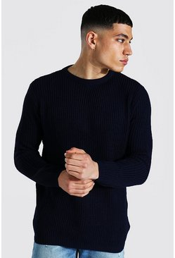 Navy Crew Neck Fisherman Sweater