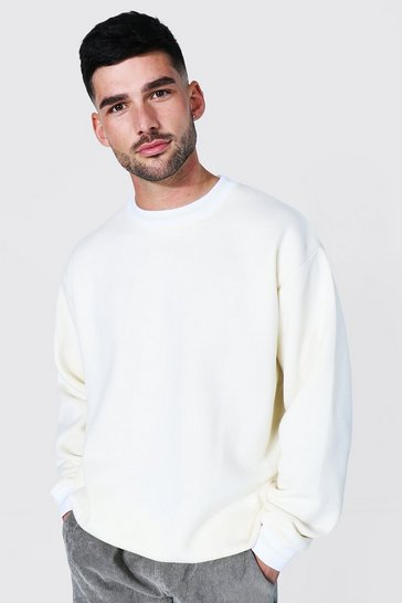 Ecru white Oversized Sports Rib Sweatshirt