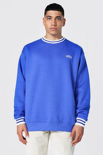 Cobalt blue Oversized Offcl Sports Rib Sweatshirt