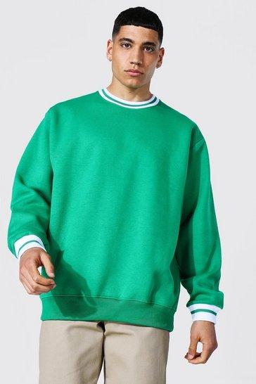 Green Oversized Sports Rib Sweatshirt