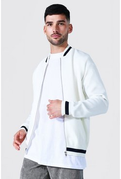 Ecru white Smart Striped Rib Knitted Bomber