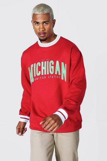 Red Oversized Michigan Sports Rib Sweatshirt