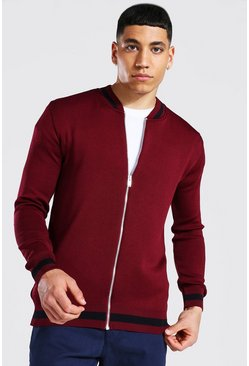 Burgundy red Smart Striped Rib Knitted Bomber