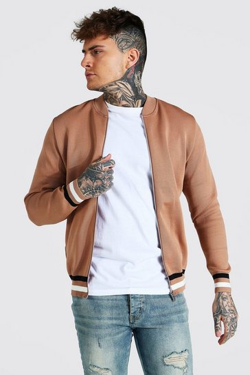 Brown Smart Striped Rib Knitted Bomber