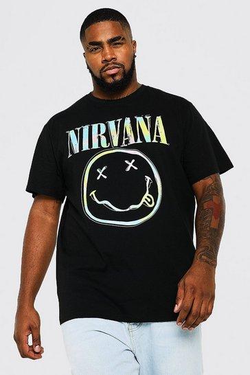 Black Plus Size Nirvana Face Tie Dye Logo T-shirt