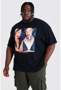 Black Plus Size Aaliyah Spliced License T-shirt