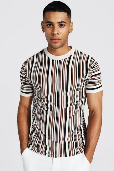 Chocolate brown Multi Stripe Knitted T-Shirt