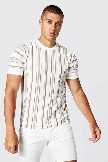 Ecru white Multi Stripe Knitted T-Shirt