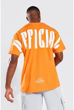 Oversized Official Back Print T-shirt, Orange