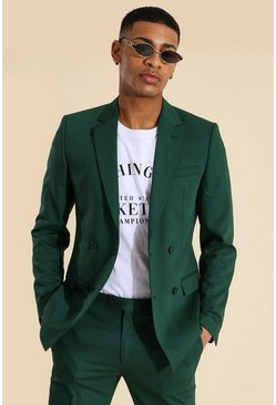 Skinny Double Breasted Suit Jacket, Green verde