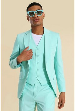 Mint green Skinny Single Breasted Suit Jacket