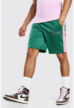 Regular Fit Tricot Shorts With Side Tape, Green verde