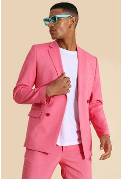Pink Skinny Double Breasted Suit Jacket