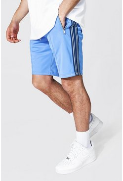 Pale blue blue Slim Fit Pintuck Tricot Shorts With Side Tape