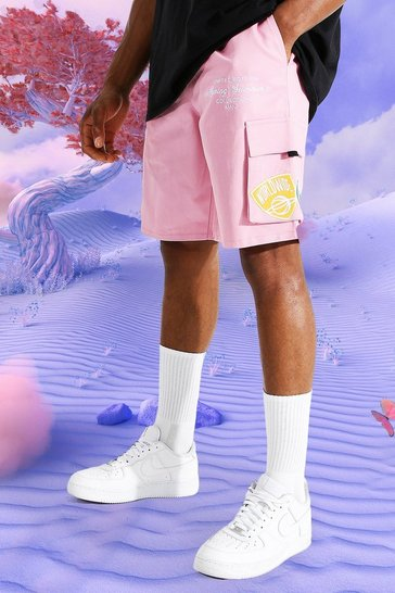 Pink Ofcl Relaxed Varsity Cargo Shorts