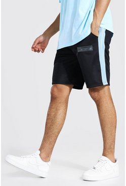 Black Regular Fit Tricot Shorts With Side Tape