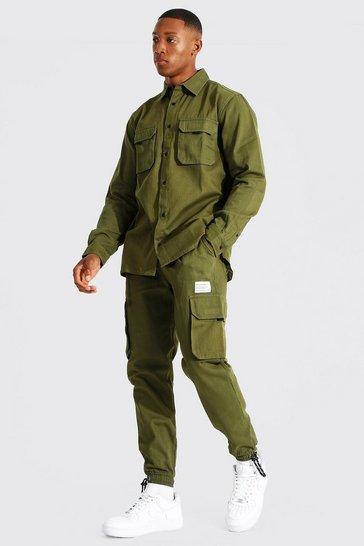 Khaki Official Man Utility Shirt & Trouser Set