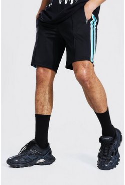 Black Slim Fit Pintuck Tricot Shorts With Side Tape