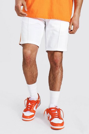 White Slim Fit Pintuck Tricot Shorts With Side Tape