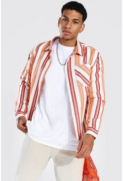 Long Sleeve Striped Flannel Overshirt, Orange Оранжевый