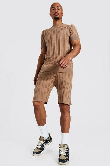 Stone beige Textured Knitted T-shirt And Short Set