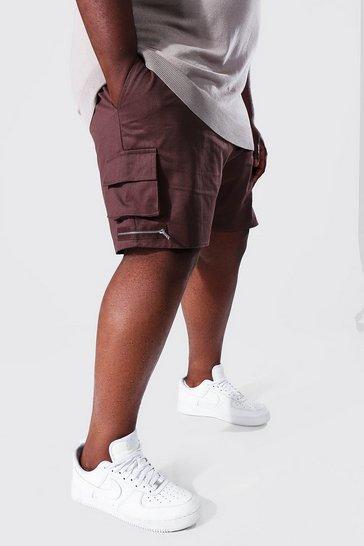 Chocolate brown Plus Man Twill Multi Pocket Zip Cargo Short