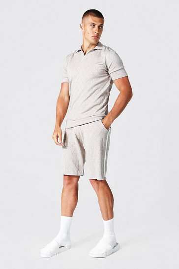 Stone beige Textured Knitted Polo And Short Set
