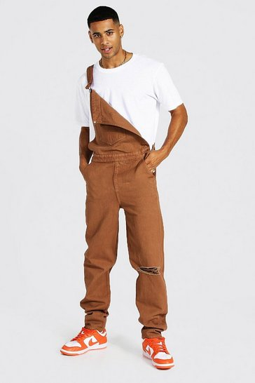 Brown Relaxed Fit Long Dungaree