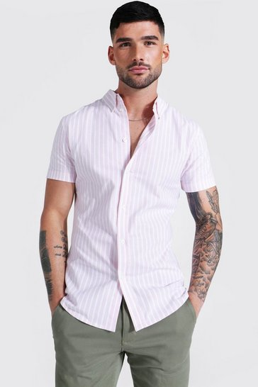 Pink Oxford Thick Stripe Short Sleeve Muscle Shirt