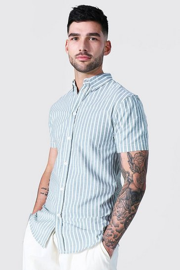 Mint green Oxford Thick Stripe Short Sleeve Muscle Shirt