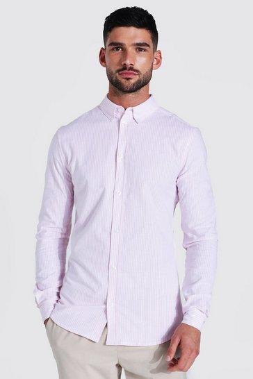 White Oxford Thin Stripe Long Sleeve Muscle Shirt