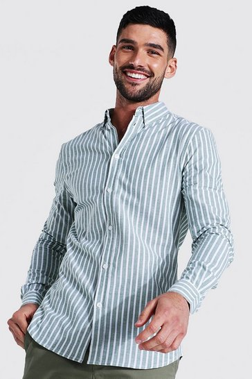 Mint green Oxford Thick Stripe Long Sleeve Muscle Shirt