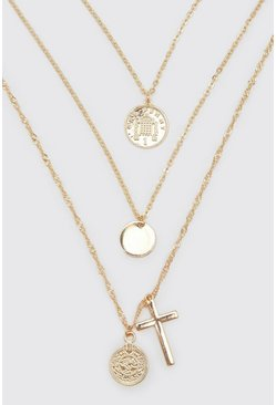 Gold metallic Multi Layer Coin And Cross Necklace