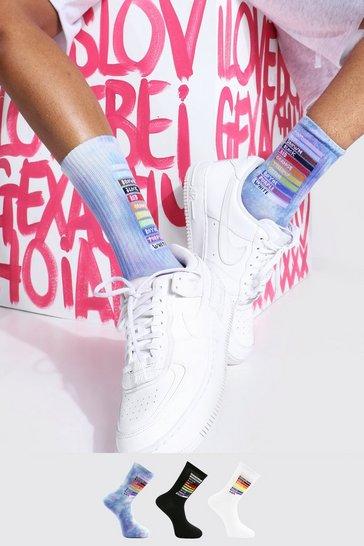 Multi Pride 3pk Rainbow Box Sport Socks
