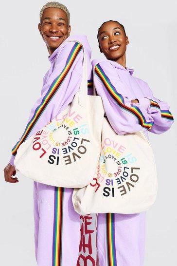 White Pride Love is Circle Print Tote Bag