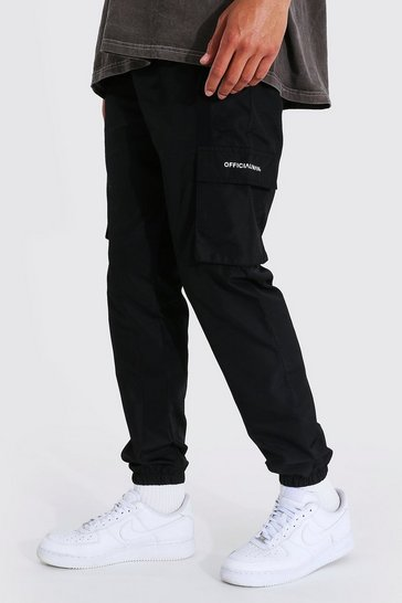 Black Tall Shell 3d Cargo Joggers With Strap Detail