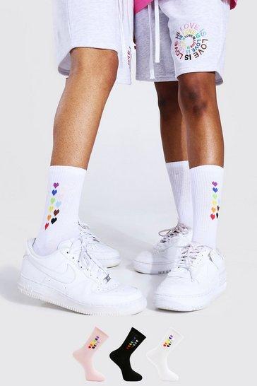 Multi Pride 3pk Rainbow Heart Sport Socks