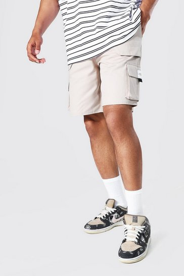 Stone beige Relaxed Twill Belt Front Cargo Short