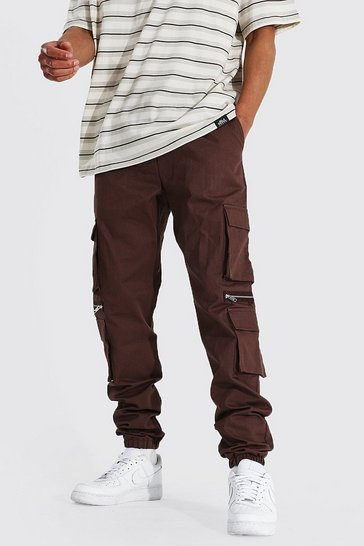 Chocolate brown Tall Man Twill Multi Pocket Zip Cargo Jogger