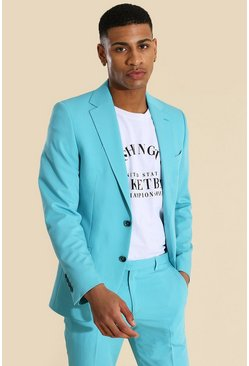 Teal green Skinny Single Breasted Suit Jacket