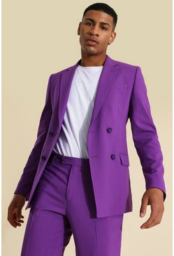 Purple Skinny Double Breasted Suit Jacket