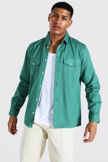Green Garment Dyed Twill Overshirt