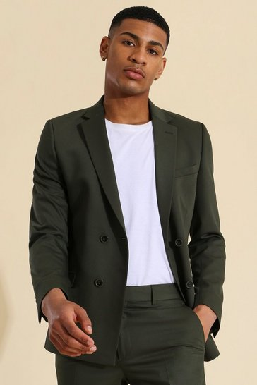 Khaki Super Skinny Double Breasted Suit Jacket