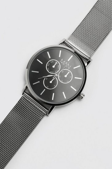 Silver Man Classic Watch With Mesh Strap