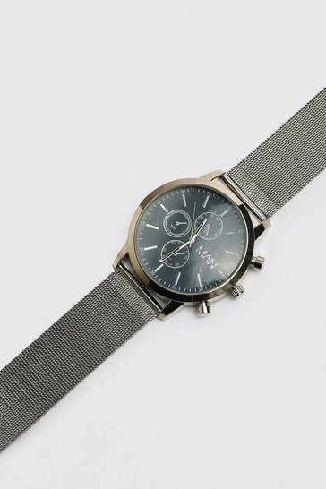 Silver Man Chronograph Style Watch With Mesh Strap