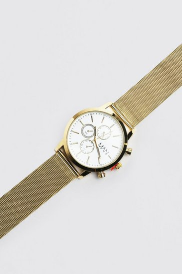 Gold metallic Man Chronograph Style Watch With Mesh Strap