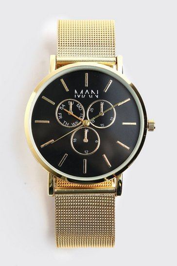 Gold metallic Man Classic Watch With Mesh Strap