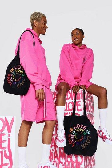 Black Pride Love is Circle Print Tote Bag